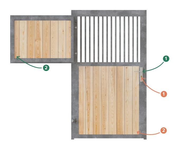 Pferdestalltür, Stalltür STANDARD mit Gitter und Fensterladen