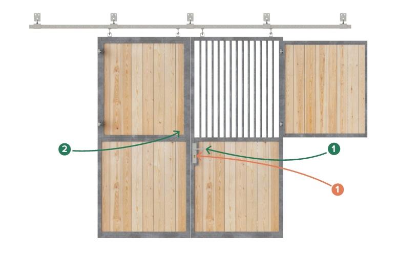Pferdestalltor, Stalltor schiebbar mit Gitter und Fensterladen, geteilt